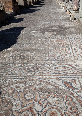 Ancient mosaic on the street of Roman Archaeological site of Ephesus in Turkey. 스톡 콘텐츠