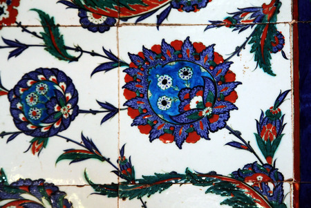 Iznik Tile Detail from wall of Selimiye Mosque, Edirne, Turkey Ancient Ottoman patterned tile composition.