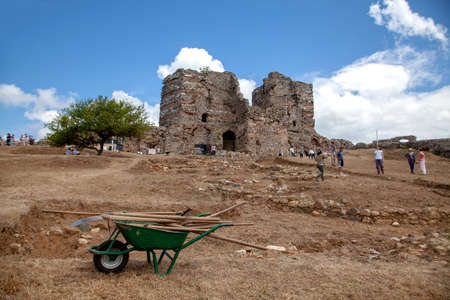 Istanbul, Turkey, July 04 ,2013:  Archaeological excavations are carried out in the castle of Yoros, a Byzantine fortress