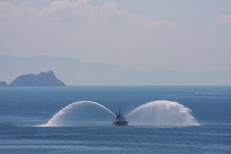 Fire fighting boat sprays water in istanbul