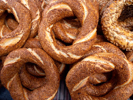 Turkish fast food bagel called Simit. Turkish bagel Simit with sesame. Bagel is traditional Turkish bakery food