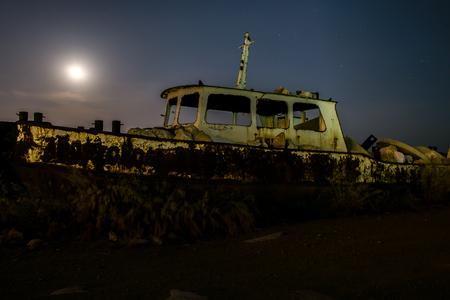 shipwreck: Shipwreck under moonlight