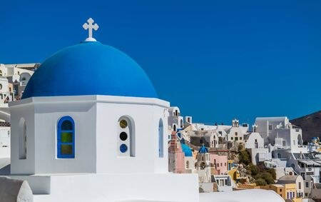 skyscapes: Church at Oia Stock Photo