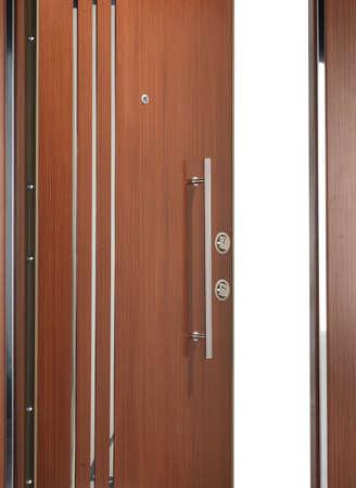 look inside: quality steel and wood door half open look inside