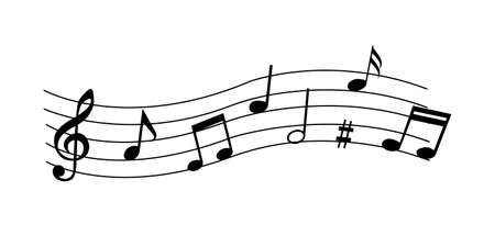 Music notes, musical design element. Isolated vector illustration.