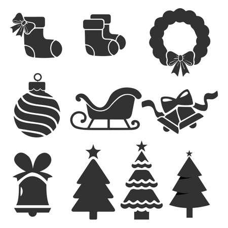 Christmas icons set. Isolated vector illustration.