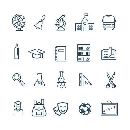 Back to school. Set of outline icons for education on a white background. Vector illustration. Design for banner, poster, label.