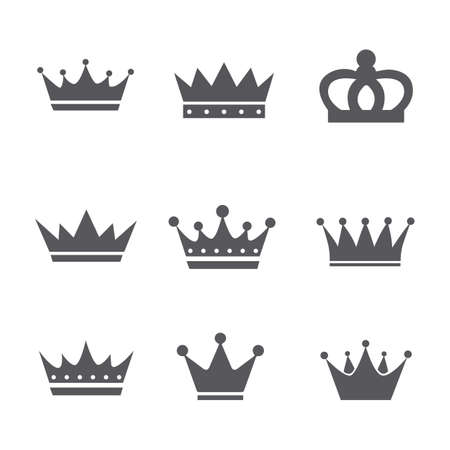 Set of Simple Crown Icon. royal heraldic symbol. isolated vector illustration