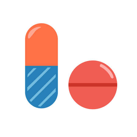 Medical pills icon, health tablet, drug symbol. Isolated vector illustration.