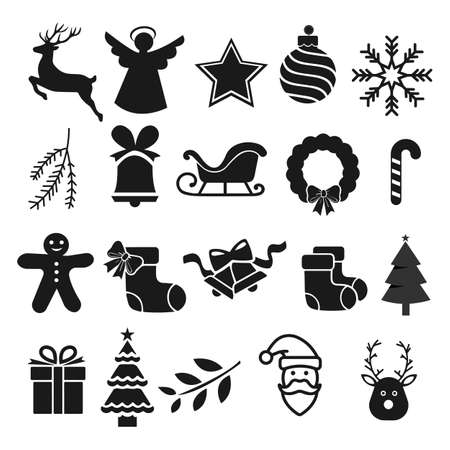 Christmas icons set. Vector illustration.  イラスト・ベクター素材