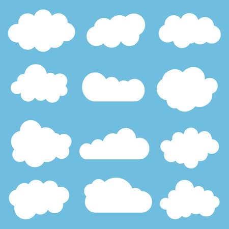 Cloud icon set.Vector illustration. Different cloud shapes. Flat cloud collection. Vektoros illusztráció
