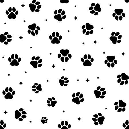 Animal paws seamless pattern. Vector illustration. Stockfoto - 135679213