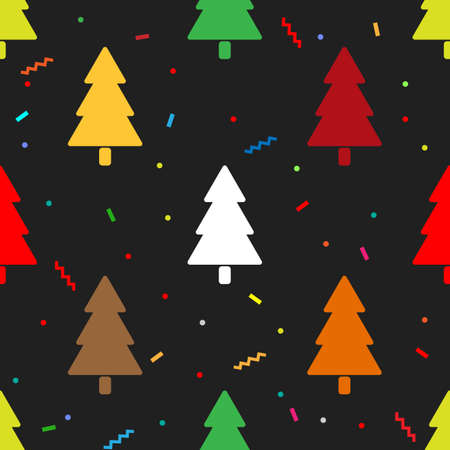 Seamless pattern of colorful fir tree and confetti. isolated vector design
