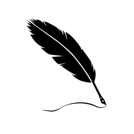 Feather quill pen symbol. Vector illustration isolated on white background. Suitable for web design.