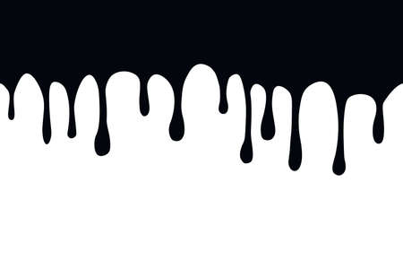 Splash oil flowing and drip. Splatter Blob of paint. Flow ink drops. Isolated vector illustration.