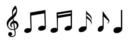 Music notes icons set. Isolated vector illustration