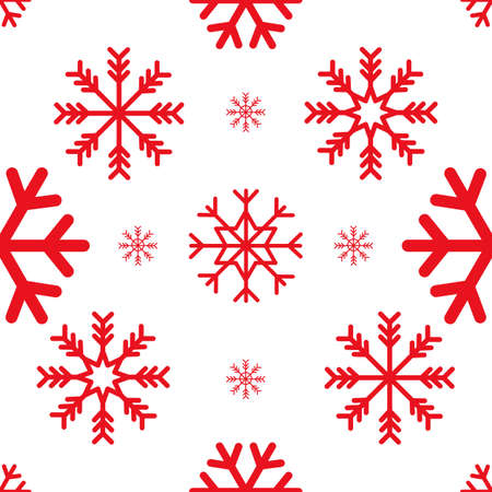 Red color Snowflakes seamless pattern. Vector illustration.