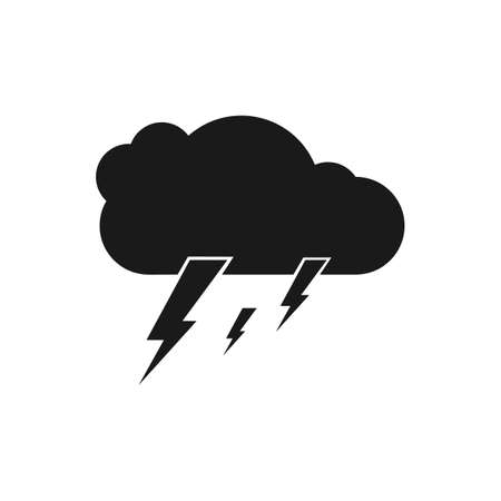 Cloud and lightning icons. isolated vector illustration