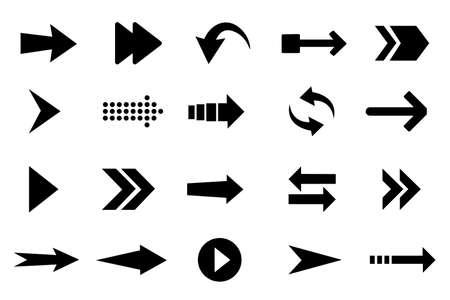 Insieme dell'icona della freccia di colore nero. Accumulazione di vettore delle frecce. Illustrazione vettoriale isolato