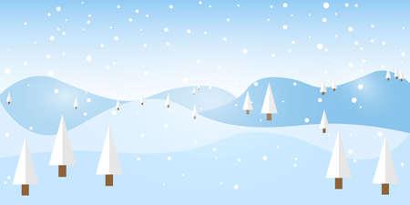 Cartoon style winter landscape. Vector illustration of pine trees, mountains and snowflakes. Ilustração