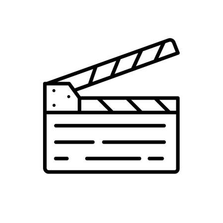 Clapperboard line symbol icons. Isolated Vector Illustration.