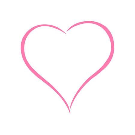 Icono de corazón de color rosa. Ilustración de vector aislado. Ilustración de vector