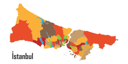 Istanbul county map - vector illustration