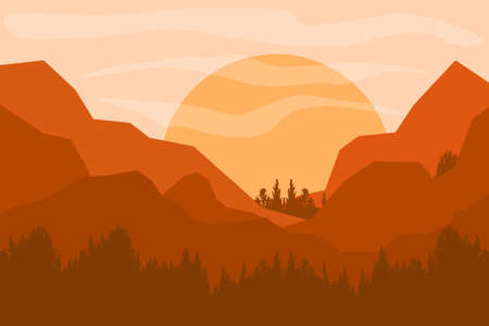 Mountains Landscape. Rural nature background with mountains of sunrise and sunset. Vector illustrator. Wall paper. Ilustrace