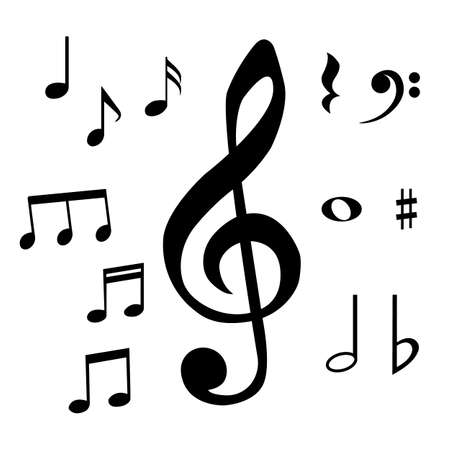 Set of musical notes and symbols. Isolated vector illustration. Stock Illustratie