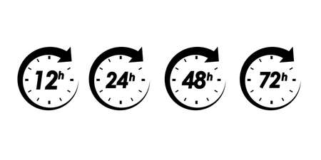 12, 24, 48 and 72 hours clock arrow icons. isolated vector illustration on white background. work time effect or delivery service time.