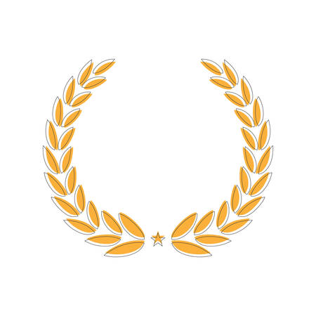 Golden Laurel wreath. Isolated vector illustration. Hand drawn vector. Round frame for invitations, greeting cards, quotes, logos, posters and more.