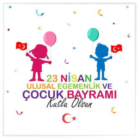 April 23 National Sovereignty and Children's Day poster design. Turkish; Happy April 23 National Sovereignty and Children's Day poster design. Vektorgrafik