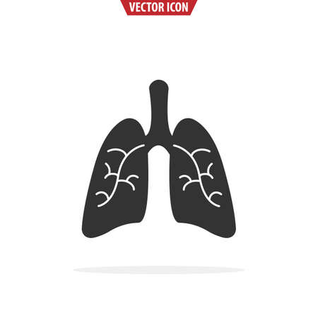 Lungs flat icon. Isolated vector illustration.