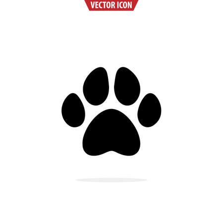 Animal paw print icon. Simple  vector illustration for graphic and web design. Isolated vector illustration.