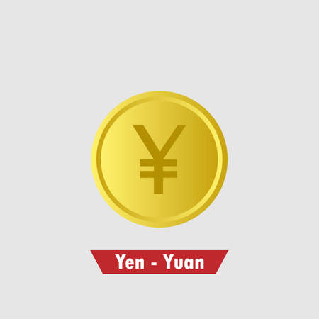 Gold yuan - yen coin. Means of payment, global currency, world economics, finances and investment concept. Isolated vector illustration.