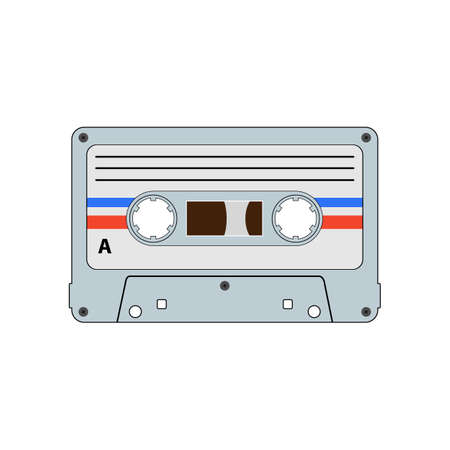Audio cassette tape flat vector. Drawing isolated on a white background.
