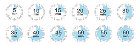 Set of timers. 5, 10, 15, 20, 25, 30, 35, 40, 45, 50, 55, and 60 minutes. Countdown timer icons set. Isolated vector illustration.