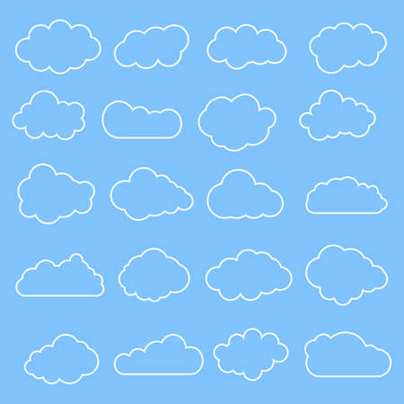 Cloud line symbols. Clouds set collection on blue background. Vector drawing.