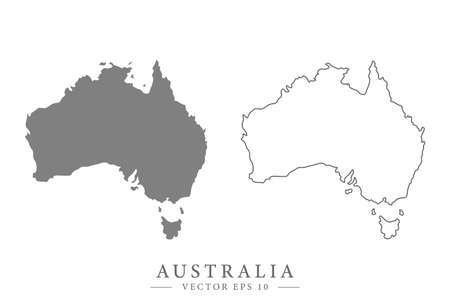 Australian flat or line map. Isolated vector illustration.