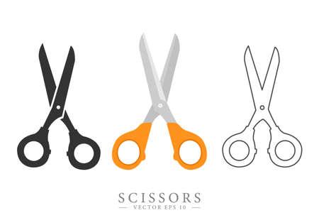Scissors symbol. Flat, colorful, line designs. Isolated vector.