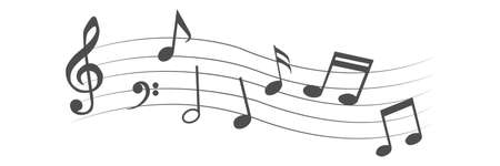 Music note design element. Isolated vector illustration.