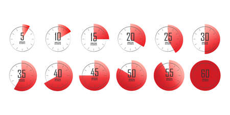 Set of timers. 5, 10, 15, 20, 25, 30, 35, 40, 45, 50, 55, and 60 minutes. Countdown timer icons set. Isolated vector illustration. Vettoriali