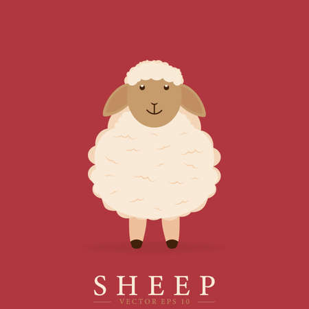 Cute sheep design in cartoon style. Vector drawing.