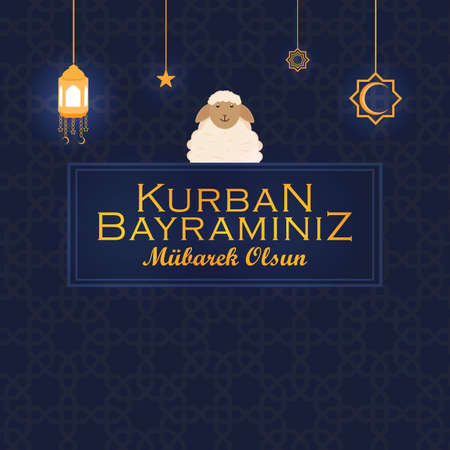 Eid al-Adha mubarak. Holy days of muslim community. Vector design. Design in turkish language Vecteurs