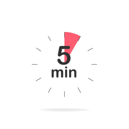 5 minutes timer. Stopwatch symbol in flat style. Isolated vector illustration. Ilustração