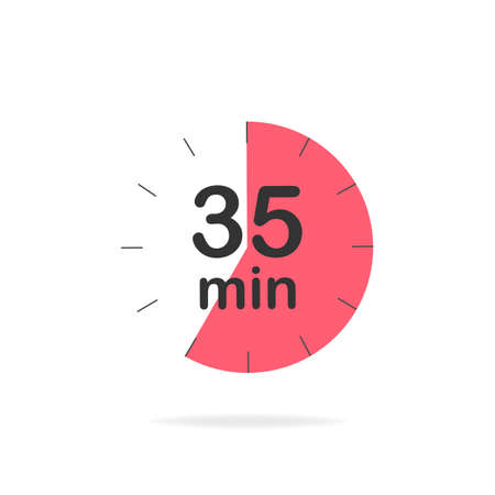 35 minutes timer. Stopwatch symbol in flat style. Editable isolated vector illustration.