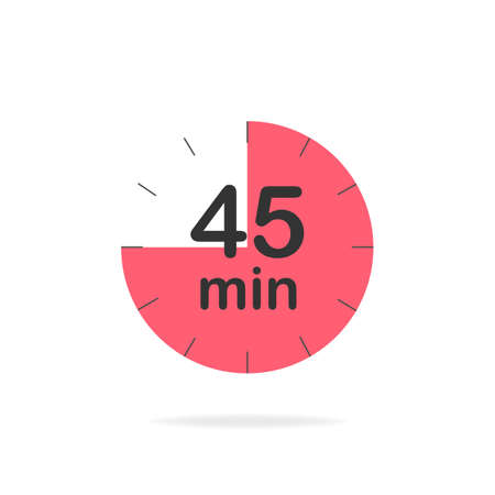 45 minutes timer. Stopwatch symbol in flat style. Editable isolated vector illustration.
