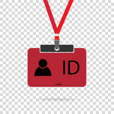 Red color ID card vector in flat design. Drawing isolated on transparent background.  イラスト・ベクター素材