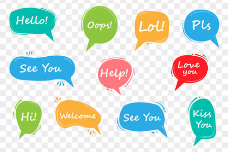 Colorful speech bubbles. Vector illustration isolated on transparent background.