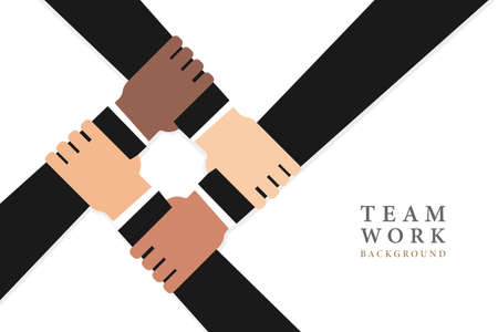 Team work background. Different hands, cultural and ethnic diversity. Vector drawing.  イラスト・ベクター素材